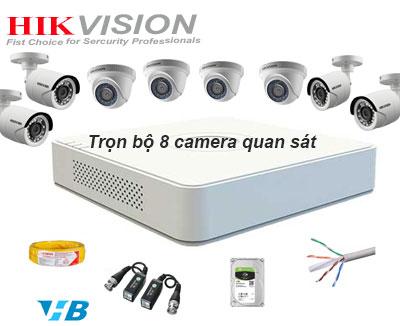 Bộ 8 camera quan sát dùng lắp đặt camera trọn gói